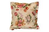 Dekoria Poszewka Mona na poduszkę, beżowe tło, bordowo różowe kwiaty, 45x45 cm, Flowers/Luna