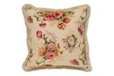 Dekoria Poszewka Hela na poduszkę, beżowe tło, bordowo różowe kwiaty, 45 x 45 cm, Flowers/Luna