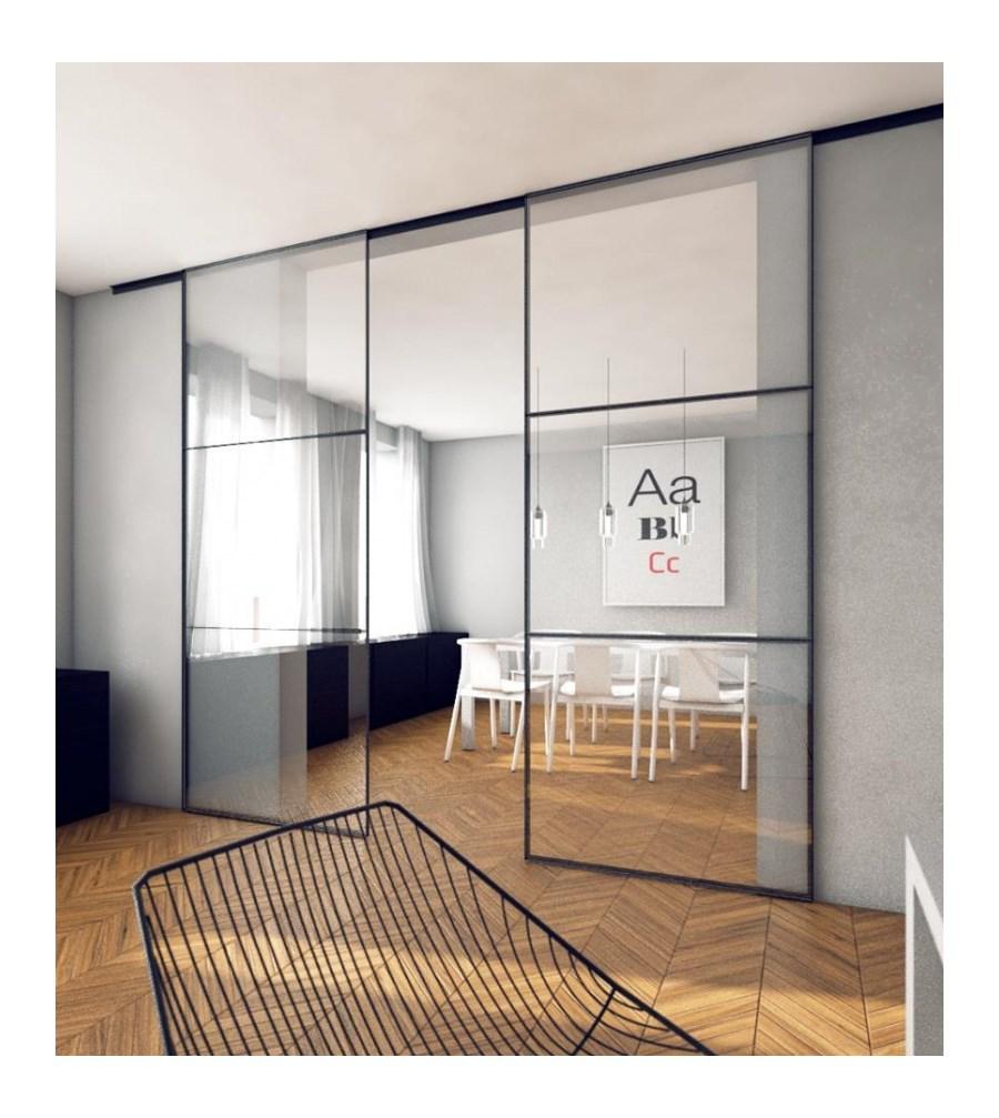 drzwi przesuwne szk o stal szafy zdj cia pomys y inspiracje homebook. Black Bedroom Furniture Sets. Home Design Ideas
