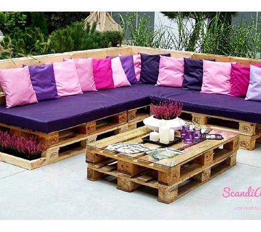Meble Ogrodowe Z Palet Instrukcja : Siedzisko na narożnik z euro palet  Poduszki ogrodowe  zdjęcia