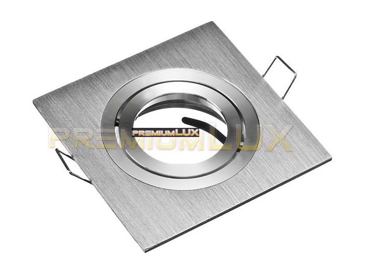 Oprawa halogenowa sufitowa JOTA K/1 kwadrat drapana aluminiowa srebrna hurtownia led Premium Lux