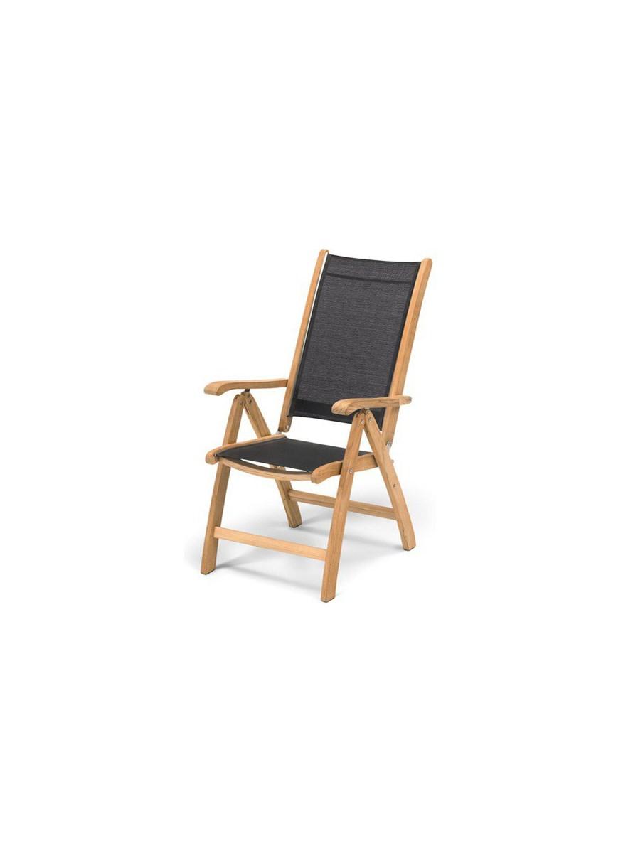Skagerak Columbus Fotel Krzesło Ogrodowe Składane Tektkanina Czarna