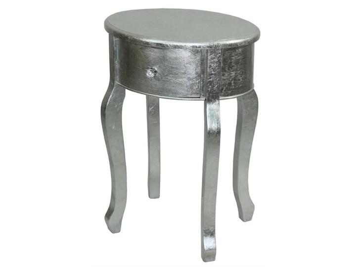 Stolik Srebrny Z Szufladą Okrągły Modern