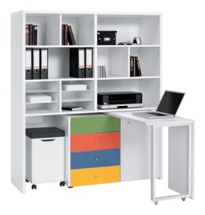 rega z biurkiem 137x154 cm bia y mdf 95673933 biurka zdj cia pomys y inspiracje homebook. Black Bedroom Furniture Sets. Home Design Ideas