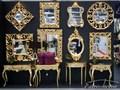 LUSTRO PU-021 K 100x100cm ZŁOTE Ścienne Styl Klasyczny Kwadratowe metal szkło Styl Glamour