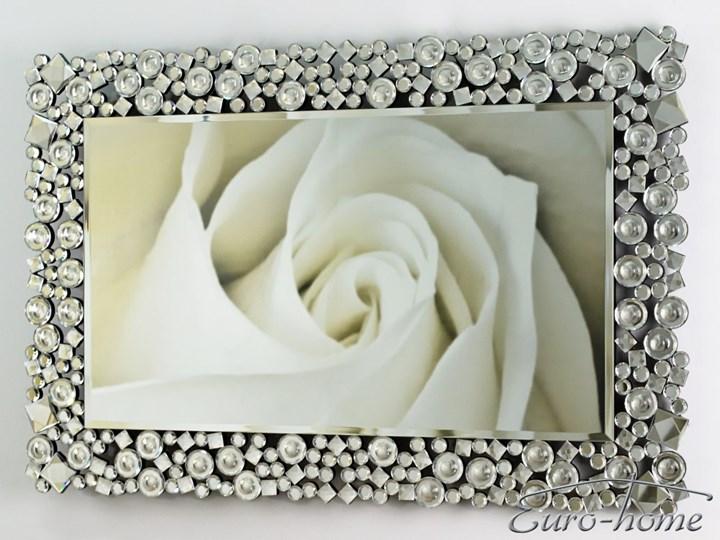 Lustro z kryształkami w stylu glamour  60 x 90 cm 13tm171PM Ścienne Lustro z ramą Prostokątne Styl Klasyczny