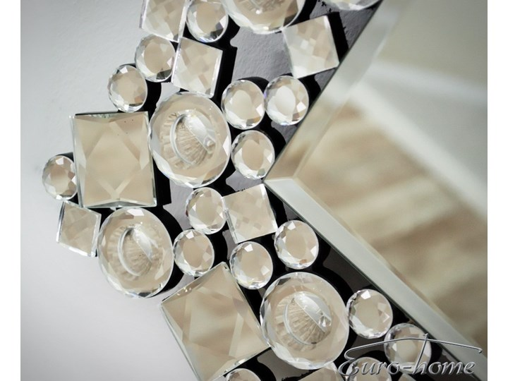 Lustro z kryształkami w stylu glamour  60 x 90 cm 13tm171PM Prostokątne Ścienne Lustro z ramą Styl Nowoczesny