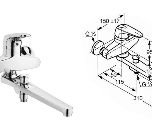 kludi objekta mix new 334910575n bateria wannowa baterie. Black Bedroom Furniture Sets. Home Design Ideas