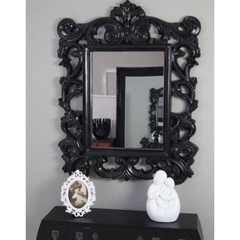 Lustro, ozdobna, ażurowa rama, kolor czarny, satynowy połysk, styl barokowy.