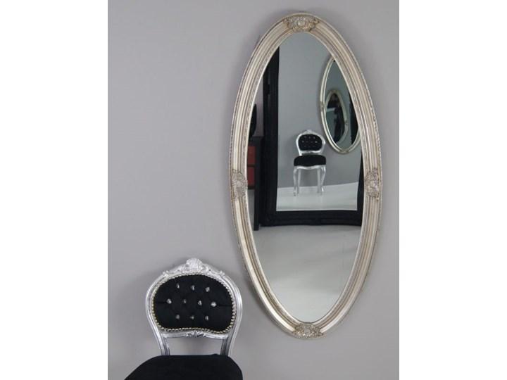 Owalne lustro, ozdobna, drewniana rama, kolor srebrny.