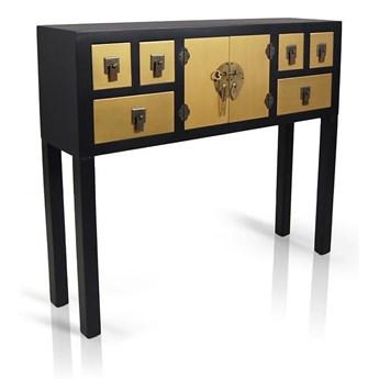 Konsola w stylu azjatyckim, szuflady, drzwiczki, metalowe okucia, kolor czarno- złoty, satynowy połysk.