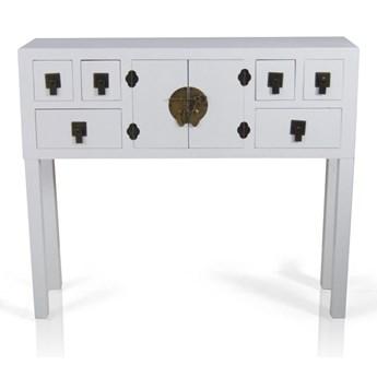 Konsola w stylu azjatyckim, szuflady, drzwiczki, metalowe okucia, kolor biały matowy.