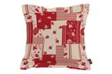Dekoria Poszewka Mona na poduszkę, czerwony patchwork na beżowym tle, 45x45 cm, Wyprzedaż do -30%