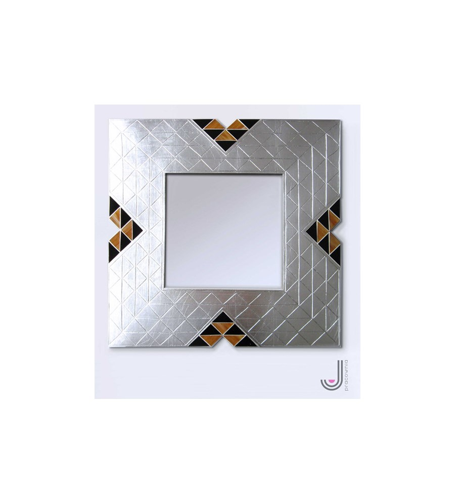 Srebrne lustro z elementami mozaiki - Lustra do garderoby - zdjęcia, pomysły, inspiracje - Homebook