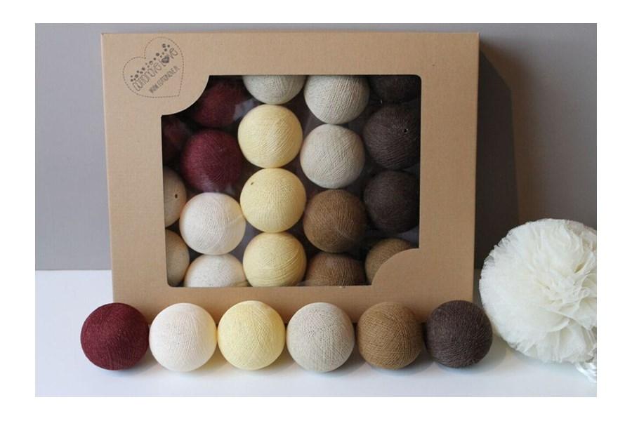 cotton balls vine beige 20 szt o wietlenie dekoracyjne. Black Bedroom Furniture Sets. Home Design Ideas