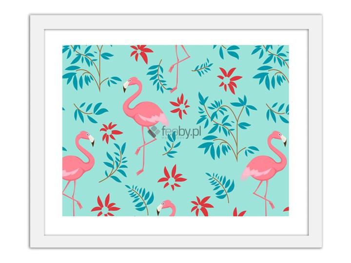 Flamingi Z Motywem Roślinnym 3 Plakaty W Ramie