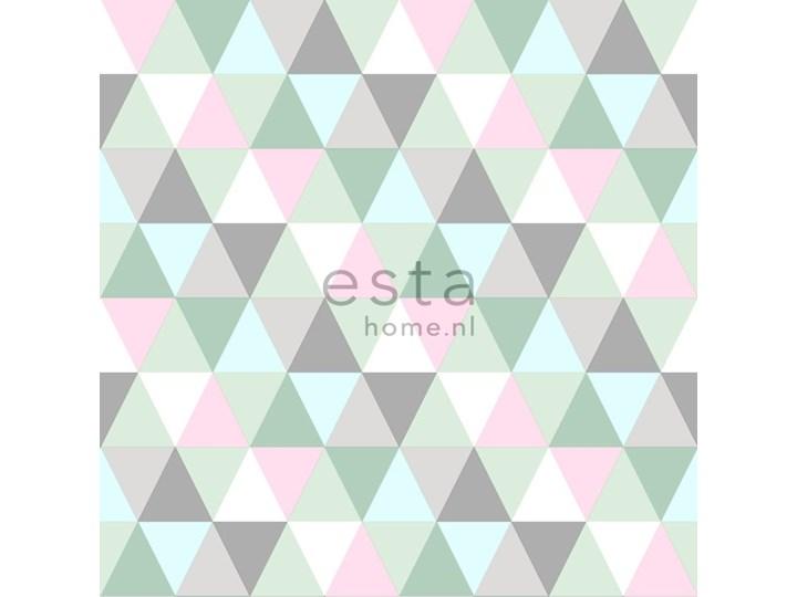 Tapeta w szaro-różowo-miętowe trójkąty