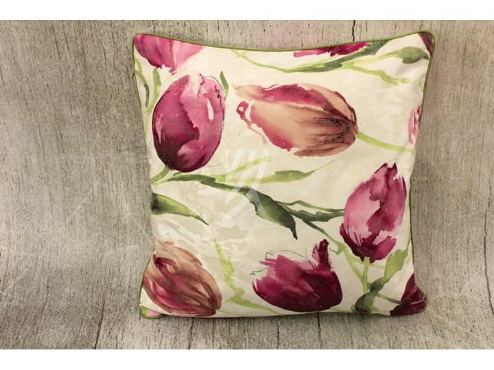 Poszewka 40x40 Tulipan Fiolet W06 Zielona Wypustka Poszewki