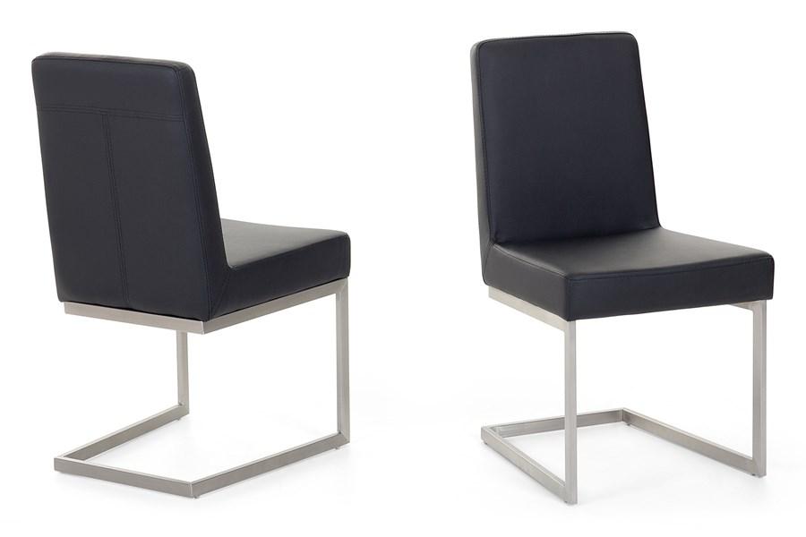 krzeslo ze stali szlachetnej czarne tapicerowane do