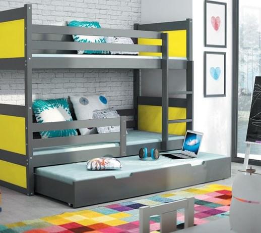 łóżko Piętrowe Trzyosobowe Rico 20090 Grafit łóżka Piętrowe