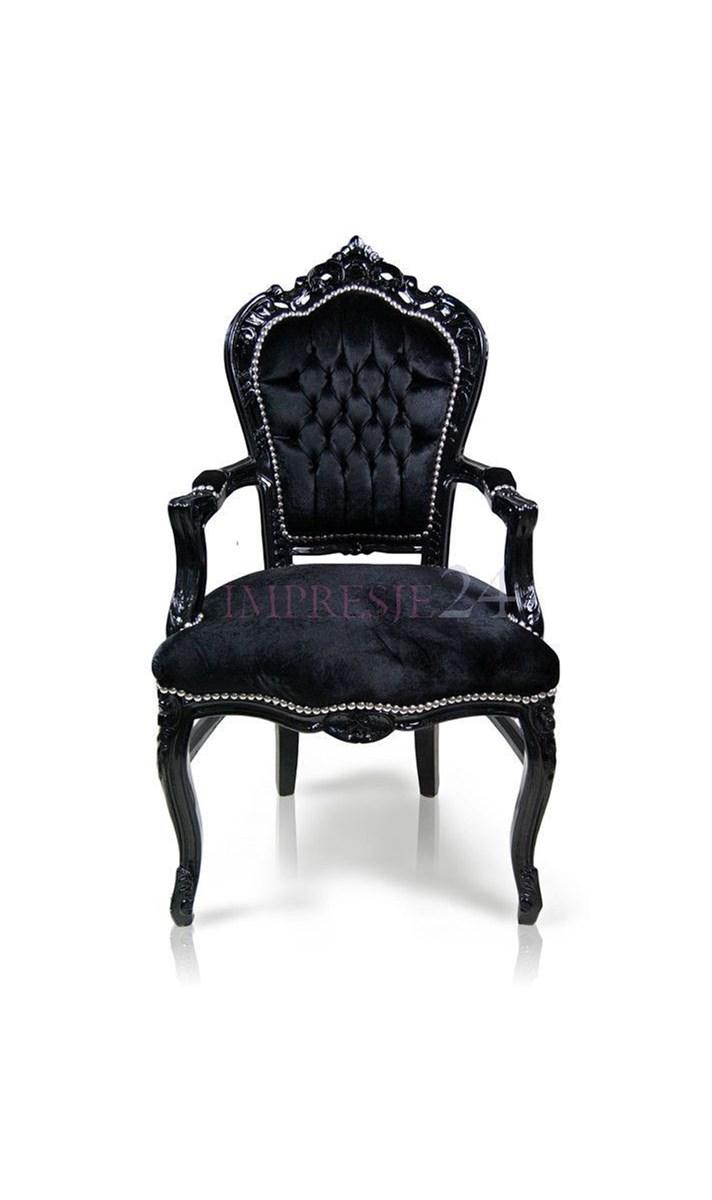 Stylowe Krzesło Kair Z Podłokietnikami Czarna Drewniana Rama Obicie Czarny Welur