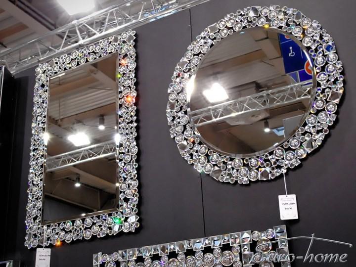 Lustro z kryształkami w stylu glamour  60 x 90 cm 13tm171PM Lustro z ramą Ścienne Kolor Srebrny Prostokątne Kategoria Lustra