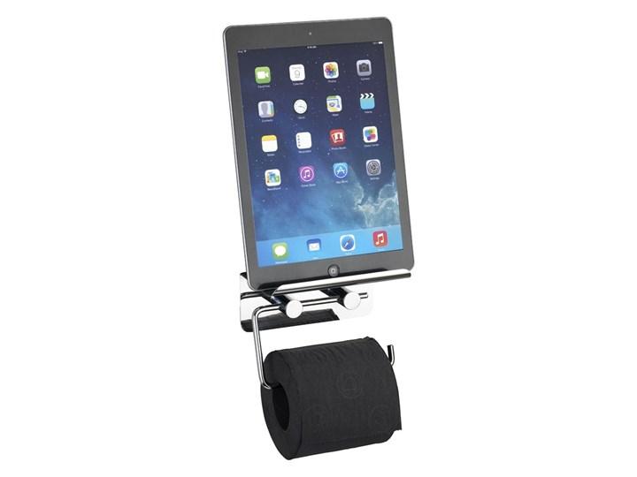 Materiał metal Uchwyt na papier toaletowy z półką na tablet, smartfon - 2 w 1, WENKO Podajniki papieru