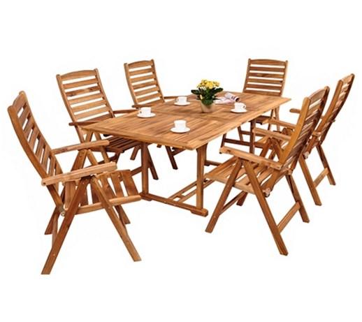 Meble drewniane do ogrodu Kennedy 150-200 6+1 - Zestawy mebli ogrodowych - zdjęcia, pomysły ...