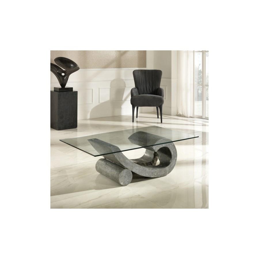 Stolik design z kamienia z szklanym blatem Madison ...