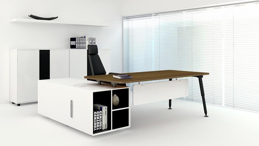 nowoczesne biurko gabinetowe bia�oczarne prawostronne z