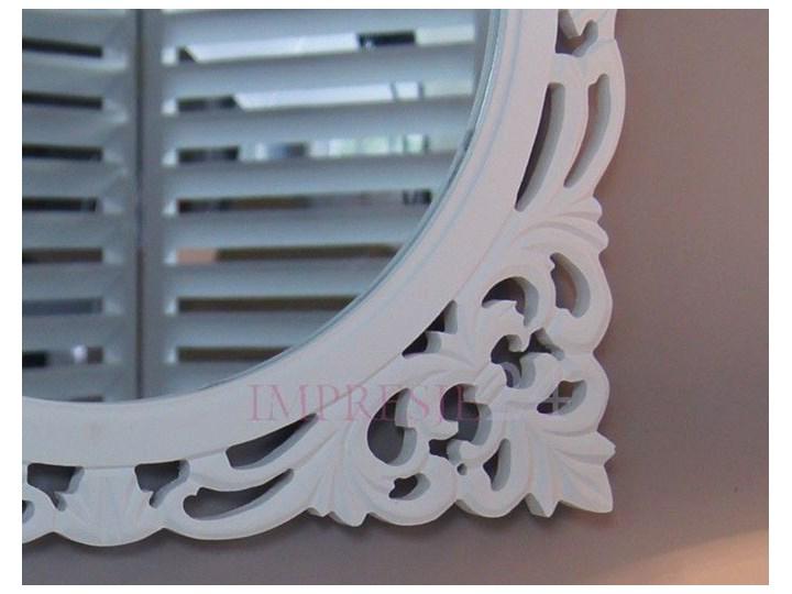 Lustro z serii ROMANTIC, drewniana, ażurowa rama, biel. szkło Stojące okrągłe drewno Styl Prowansalski