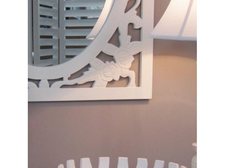 Lustro z serii ROMANTIC, drewniana, ażurowa rama, matowa biel. Prostokątne Ścienne Kolor Biały