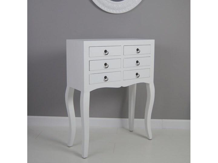 Konsola, komoda, sześć szuflad, gięte nogi, kolor biały matowy.
