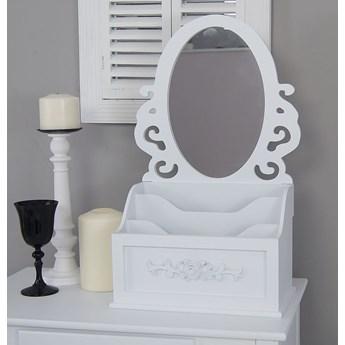 Stylowa toaletka z serii Romantic, przegrody, lustro, matowa biel.