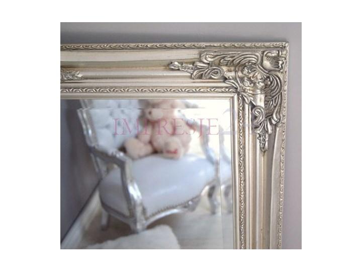 Lustro w drewnianej, srebrnej ramie. drewno Prostokątne Stojące szkło Styl glamour