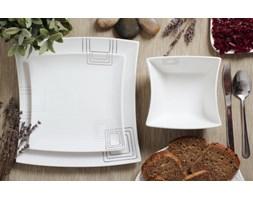 Serwis obiadowy KWADRATY na 6 osób (18 el.) -- srebrny szary biały
