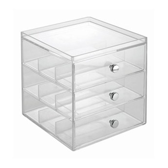 Przezroczysta minikomoda z 3 szufladkami na okulary iDesign