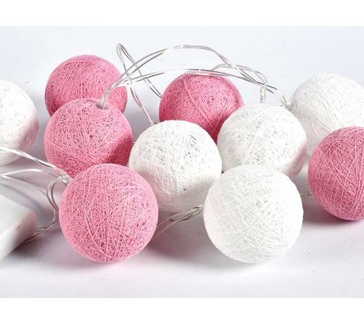 Lampki Dekoracyjne Kule Cotton Balls 20 Kul Biało Różowe