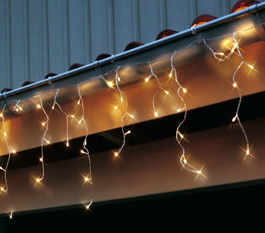 Icicle girlanda na dach przezroczysty 144 led 14m for Guirlande lumineuse exterieur 40m