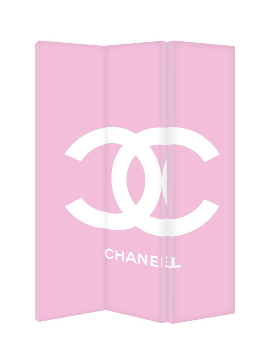 Chanel Logo Na Różowym Tle Parawan Ozdobny Jednostronny Na Płótnie