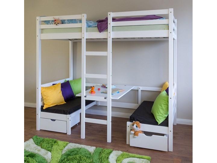 łóżko Młodzieżowe Dziecięce Piętrowe 90x200 Z Biurkiem Białe