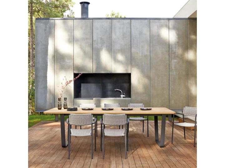Stół Na Zewnątrz Z Kutego żelaza I Drewna Iroko Air Od Manutti