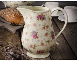Dzbanek porcelanowy do napojów DUO RÓŻA 1,2 l -- kremowy różowy fioletowy