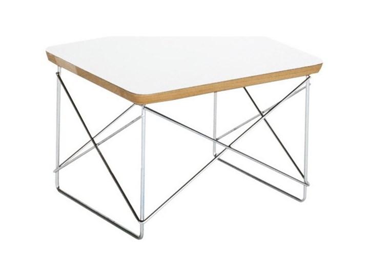Stolik inspirowany LTR / biały Metal Kwadratowe Wysokość 25 cm Styl Industrialny