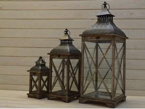 DREWNIANA LATARNIA LAMPION LAMPA SHABBY RETRO 85CM