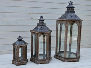 DREWNIANA LATARNIA LAMPION LAMPA SHABBY RETRO 81CM