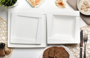 Serwis obiadowy AMBITION KUBIKO na 6 osób (18 el.)-- biały