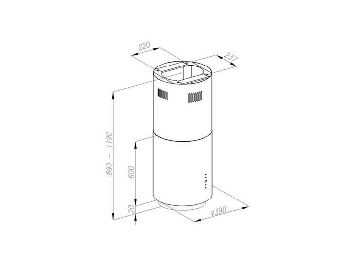Okap VDB Tube Inox Szerokość 39 cm Okap wyspowy Poziom hałasu 49 dB
