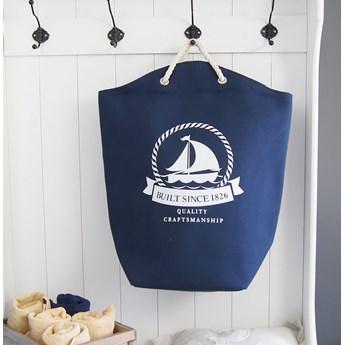Torba plażowa, kosz na pranie, granatowo-biały.