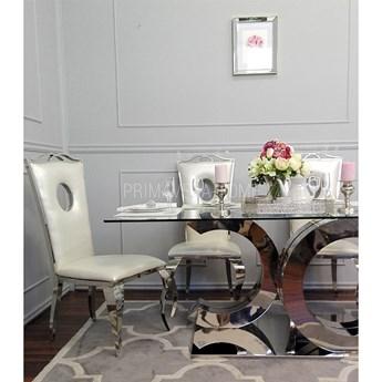 Stół do jadalni stal nierdzewna szkło srebrny przeźroczysty czarny styl glamour COCO 1